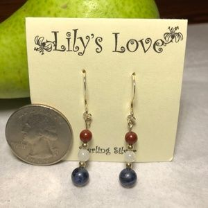 Sodalite, Moonstone and Rainbow Jasper Earrings